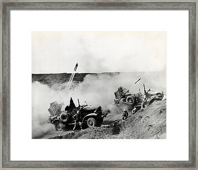Wwii Usmc Rockets On Iwo Jima Framed Print