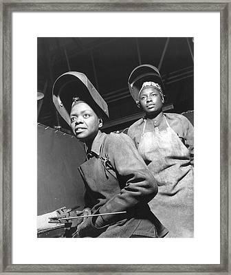 Wwii Women Welders At The Landers Framed Print by Granger