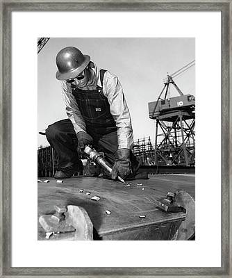 Wwii Worker At Terminal Island Framed Print by California Shipbuilding Corporat