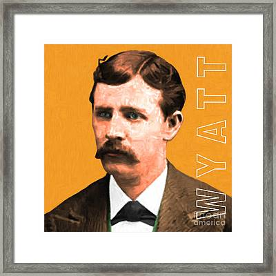 Wyatt Earp 20130518 Square With Text Framed Print by Wingsdomain Art and Photography