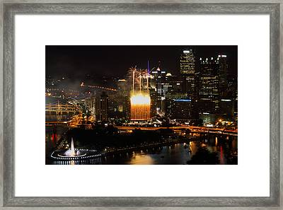 Wyndham Wonder Falls Of Light In Pittsburgh Framed Print by Jetson Nguyen