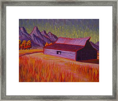 Wyoming Barn In Red Framed Print