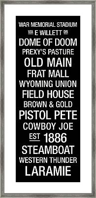 Wyoming College Town Wall Art Framed Print by Replay Photos