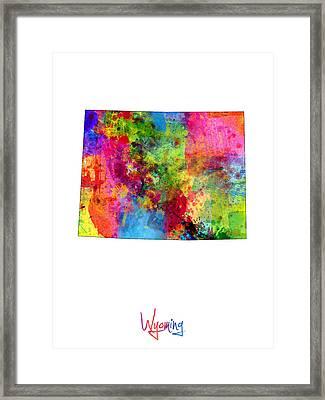 Wyoming Map Framed Print by Michael Tompsett
