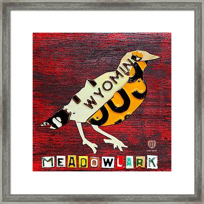 Wyoming Meadowlark Wild Bird Vintage Recycled License Plate Art Framed Print by Design Turnpike