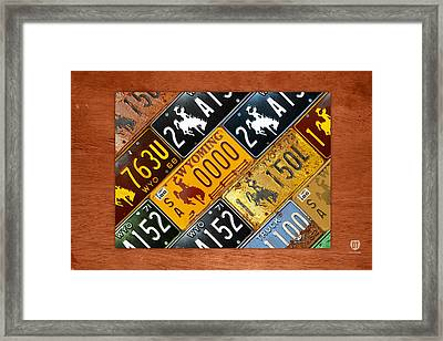 Wyoming State License Plate Map Framed Print