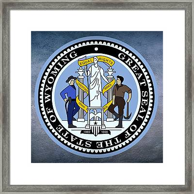 Wyoming State Seal Framed Print by Movie Poster Prints