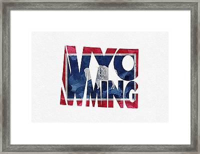Wyoming Typographic Map Flag Framed Print by Ayse Deniz