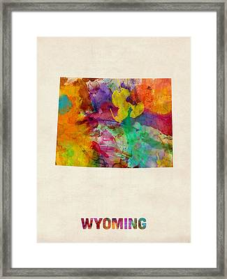 Wyoming Watercolor Map Framed Print by Michael Tompsett