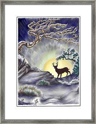 Wyoming Winter Moonrise Framed Print by Dawn Senior-Trask