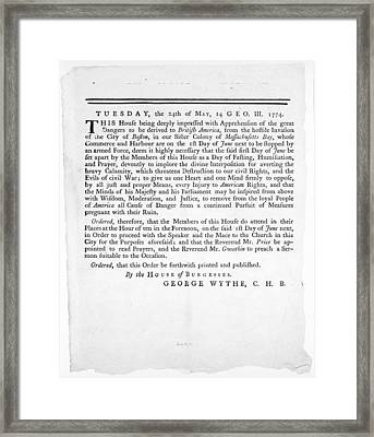 Wythe: Broadside, 1774 Framed Print by Granger