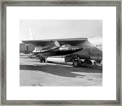 X-15 Aircraft On A Boeing B-52 Framed Print by Nasa