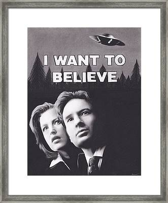 X Files I Want To Believe Framed Print by Brittni DeWeese