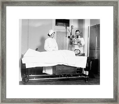 X-ray Machine In Use Framed Print by Library Of Congress