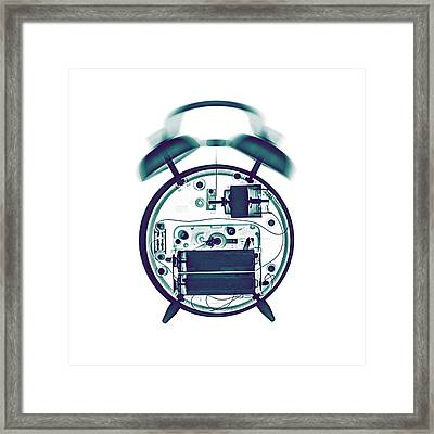 X-ray Of A Mechanical Alarm Clock Framed Print