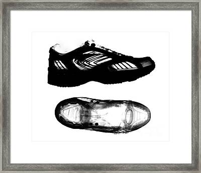 X-ray Of Athletic Shoe Framed Print by Bert Myers