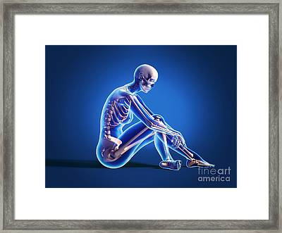 X-ray View Of A Woman Sitting On Floor Framed Print by Leonello Calvetti
