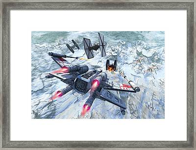 X-wing Attacking Tie Fighter Over An Framed Print by Kurt Miller