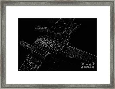 X Wing Fighter Bw Framed Print by Chris Thomas