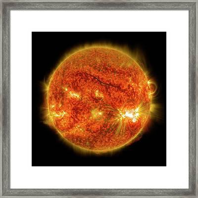 X2-class Solar Flare Framed Print by Nasa/sdo
