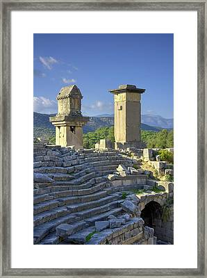 Xanthos Tombs And Amphitheatre Framed Print by David Parker