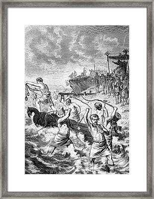 Xerxes Whipping The Sea Framed Print by Bildagentur-online/tschanz