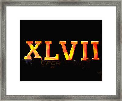 Framed Print featuring the photograph Xlvii Super Bowl Sign by Photography  By Sai