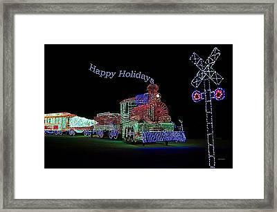 Xmas Tree Train Happy Holidays Framed Print by Thomas Woolworth