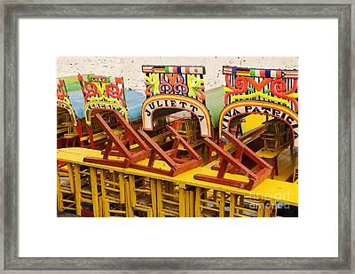 Xochimilco Canoes And Chairs Framed Print
