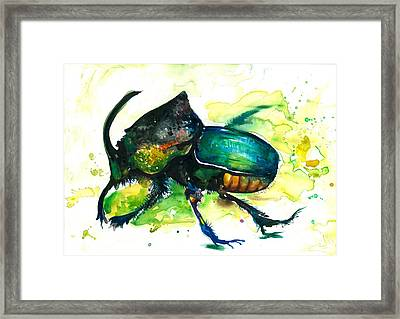 Xxl Format Scarab Rainbow Rhinoceros Beetle - Insect Art Framed Print by Tiberiu Soos