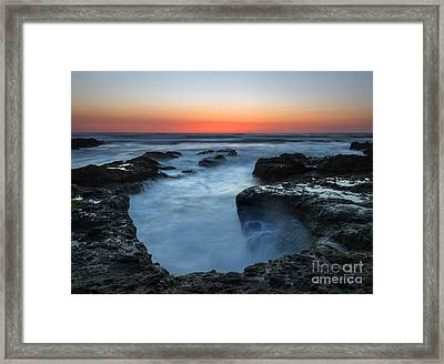 Yachats Sunset Framed Print by Mike  Dawson