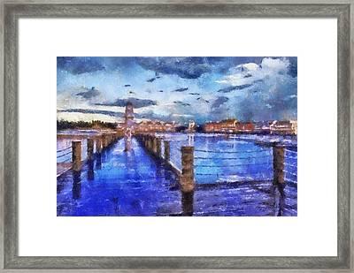 Yacht And Beach Club Lighthouse Wdw Photo Art Framed Print