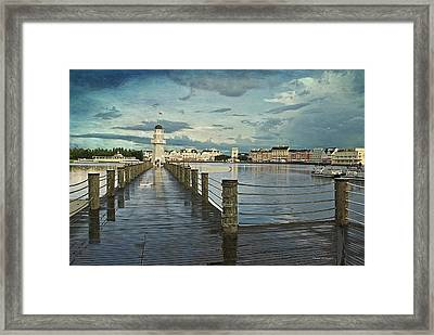 Yacht And Beach Lighthouse Disney World Textured Sky Framed Print by Thomas Woolworth
