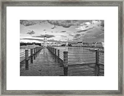 Yacht And Beach Lighthouse In Black And White Walt Disney World Framed Print
