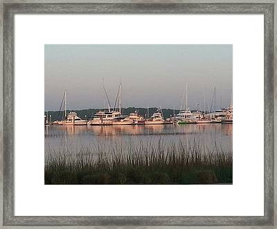 Yacht And Harbor View Framed Print