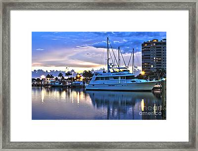Framed Print featuring the photograph Yacht At Marina In Cape Coral by Timothy Lowry