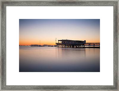 Yacht Club At Sunrise Framed Print by Lee Costa