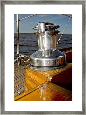 Yacht Detail - Winch Framed Print by Raimond Klavins