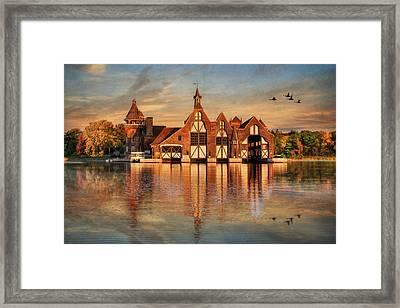 Yacht House Sunrise Framed Print