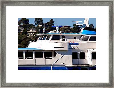 Yacht On Ocean Sausalito California Framed Print
