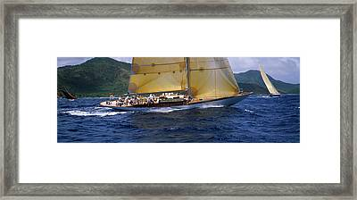 Yacht Racing In The Sea, Antigua Framed Print by Panoramic Images