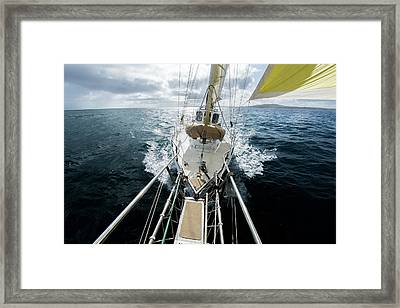 Yacht Sailing On The Southern Ocean Framed Print by John White Photos