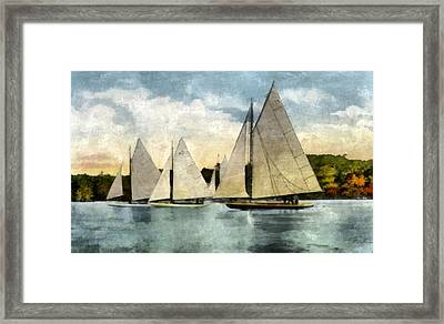 Yachting In Saugatuck Framed Print