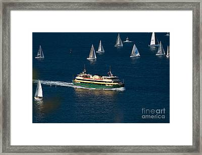 Yachts And Manly Ferry On Sydney Harbour Framed Print