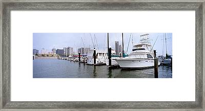 Yachts At A Harbor With Buildings Framed Print
