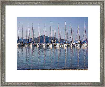 Yachts Docked In The Harbor Gocek Framed Print by Christine Giles