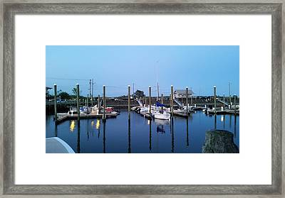 Yachts In Dock Framed Print