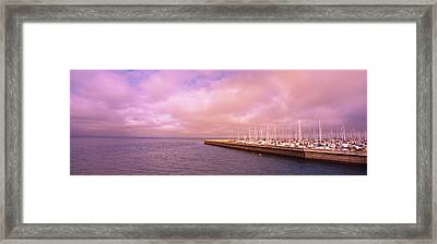 Yachts Moored At A Harbor, San Framed Print