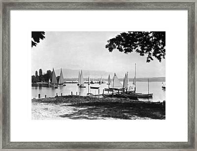Yachts On Lake Geneva Framed Print by Underwood Archives