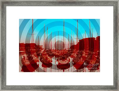 Yachts On Moroiso Bay In Japan Framed Print